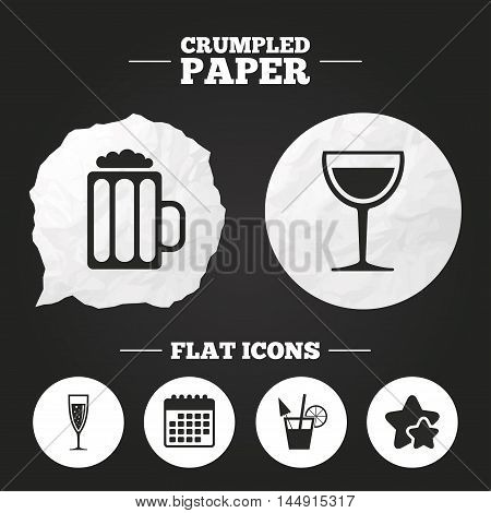 Crumpled paper speech bubble. Alcoholic drinks icons. Champagne sparkling wine with bubbles and beer symbols. Wine glass and cocktail signs. Paper button. Vector