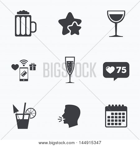 Alcoholic drinks icons. Champagne sparkling wine with bubbles and beer symbols. Wine glass and cocktail signs. Flat talking head, calendar icons. Stars, like counter icons. Vector