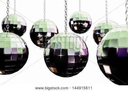 3d illustration of disco balls isolated on white background