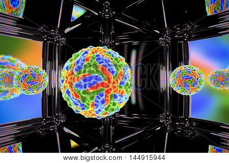 Zika virus on a background with reflections, 3D illustration