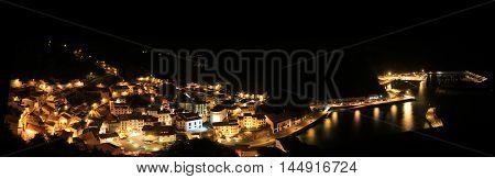 Night City Lights Skyline Aerial Panoramic View