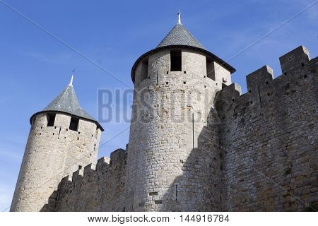 Two Towers And Their Walls In Carcassonne City, France