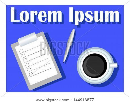 Coffee cup with task list and pen. Flat vector illustration with place for text. To-do planner for analog writing and ticking. Traditional time management. Empty checklist for planning. Office morning