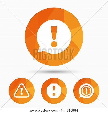 Attention icons. Exclamation speech bubble symbols. Caution signs. Triangular low poly buttons with shadow. Vector