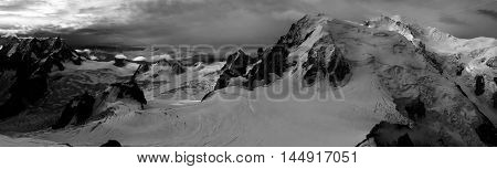 Panoramic Black And White Alps Mountains Landscape View