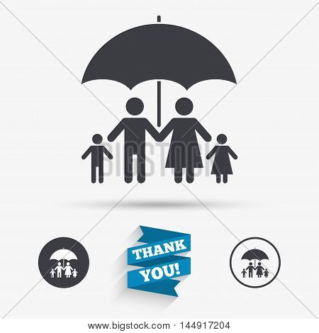 Complete family insurance sign icon. Umbrella symbol. Flat icons. Buttons with icons. Thank you ribbon. Vector
