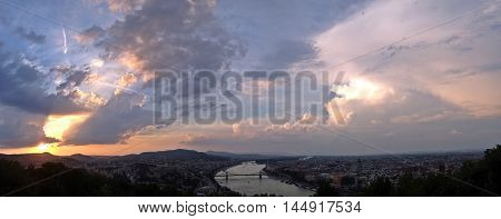 Budapest Aerial Birdview River Cityscape Downtown Panoramic View