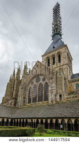 view of church-abbey from cloister in Saint-Michel France