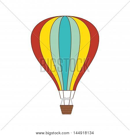 hot air balloon  colorful stripes basket ride transport vehicle vector illustration