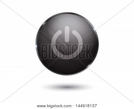 black glossy power button on black. On Off
