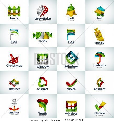 Vector abstract business logo collection, universal web icons
