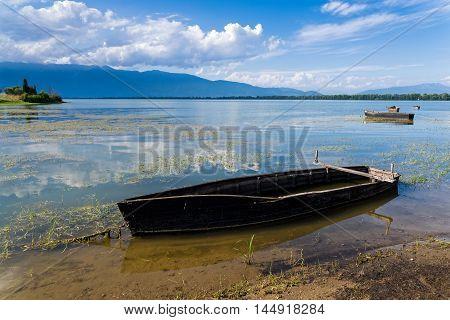 Traditional wooden boats in Kerkini lake, Greece