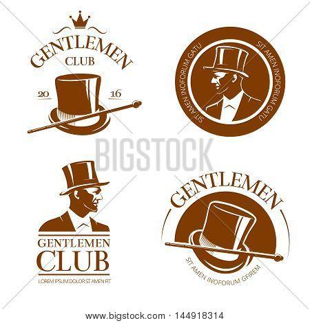 Retro gentlemen club emblems, labels, badges. Gentleman fashion, logo gentleman, aristocrat club gentleman, cylinder gentleman, label or emblem gentleman club. Vector illustration