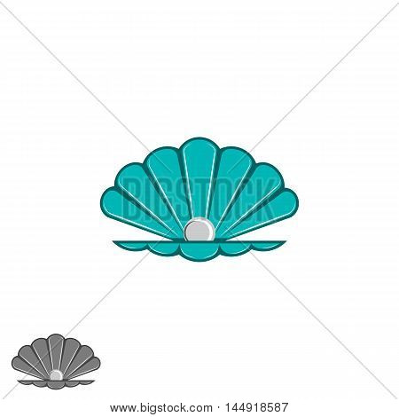 Shell Pearl Logo, Open Seashell With A Pearl Inside, Cartoon Design Element, Jewelry Emblem Mockup