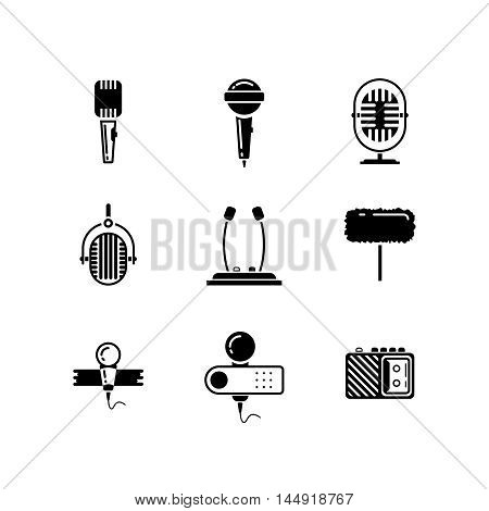 Microphone black icons vector set. Microphone icon, media sound microphone, technology microphone button, speech microphone illustration