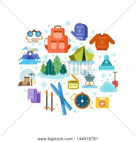 Circle composition of winter hiking flat icons. Winter hiking emblem, winter travel sport hiking, mountain trip, vacation winter hiking extreme, vector illustration