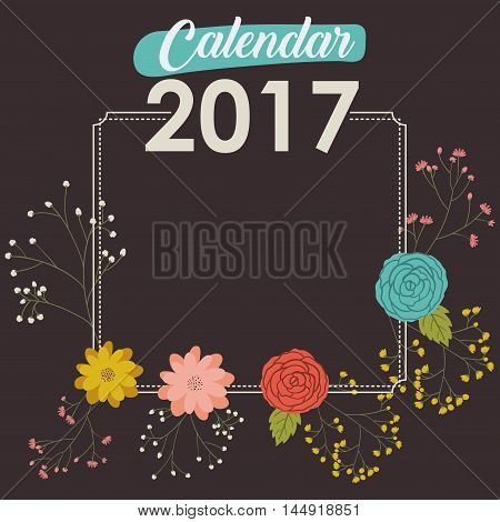2017 year frame calendar flowers floral garden planner month day icon. Colorful and Flat design. Vector illustration