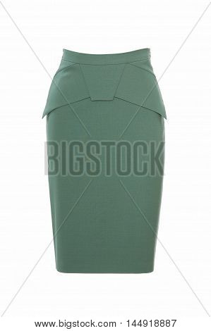 Women's green skirt isolated on white studio shot