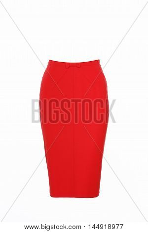 Women's red skirt isolated on white studio shot
