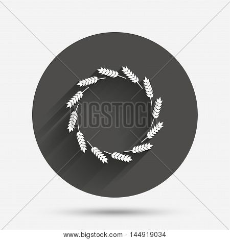 Agricultural sign icon. Wreath of Wheat corn. Gluten free or No gluten symbol. Circle flat button with shadow. Vector