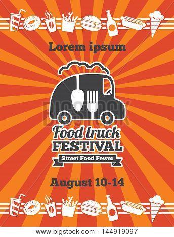 Fast food delivery vector background. Street food festival, market truck food festival, banner food truck festival illustration