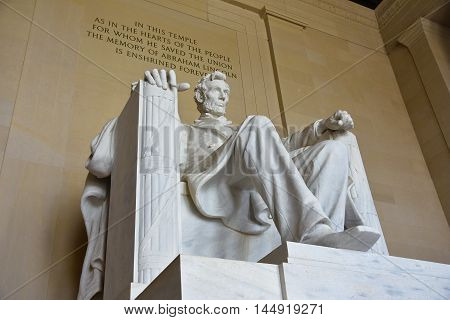 WASHINGTON, DC - DECEMBER 19, 2015: Statue of Abraham Lincoln. From here, Martin Luther King uttered the phrase