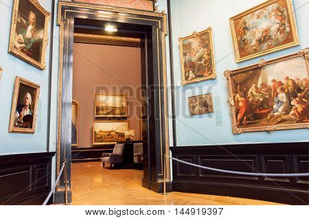 VIENNA, AUSTRIA - JUNE 10, 2016: Collection of paintings of Kunsthistorisches Museum with artworks from 14th centure on June 10, 2016. Musem was opened in 1891. It's among 100 most visited museums worldwide