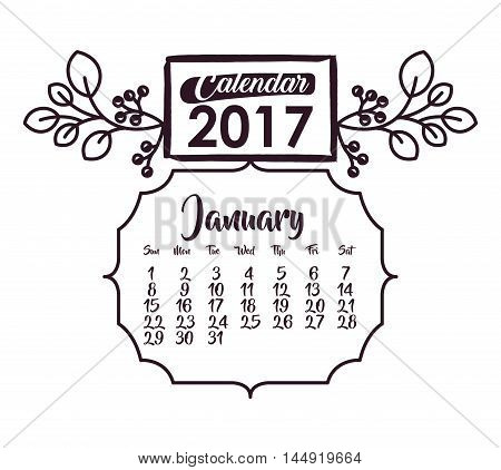 2017 year january ornament frame calendar planner month day icon. Colorful and Flat design. Vector illustration