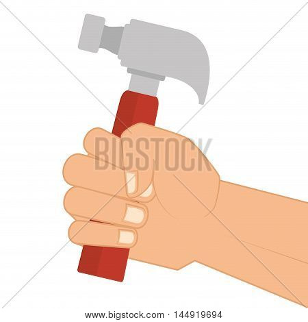 hand holding a hammer repair and fix construction tools equipment vector illustration