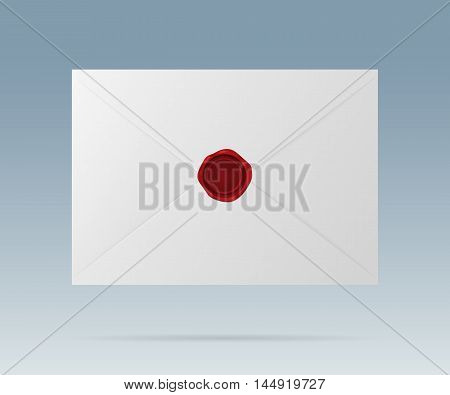 Closed white envelope with a red wax seal. Vector realistic icon. Isolated from a background.