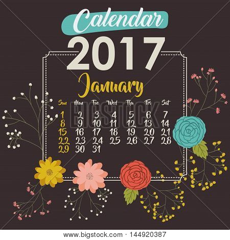 2017 january year calendar flowers floral garden planner month day icon. Colorful and Flat design. Vector illustration