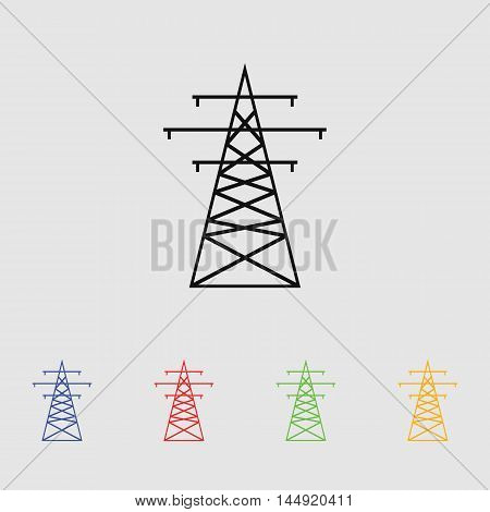The high-voltage wire pole. Vector illustration. Vector icon for web and mobile