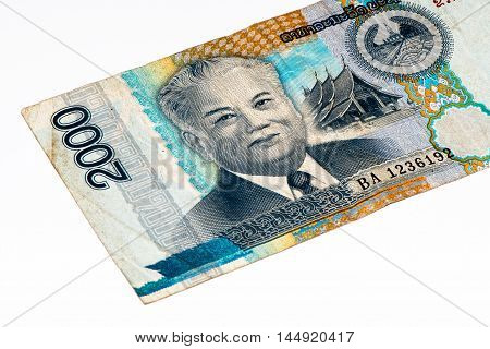 2000 kip bank note. Kip is the national currency of Laos.