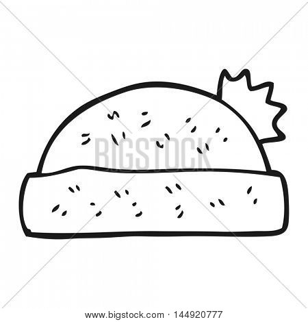 freehand drawn black and white cartoon winter hat