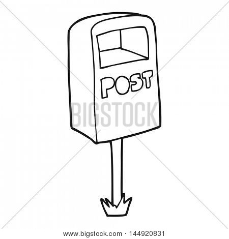 freehand drawn black and white cartoon post box