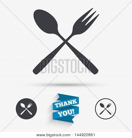 Eat sign icon. Cutlery symbol. Dessert fork and teaspoon crosswise. Flat icons. Buttons with icons. Thank you ribbon. Vector