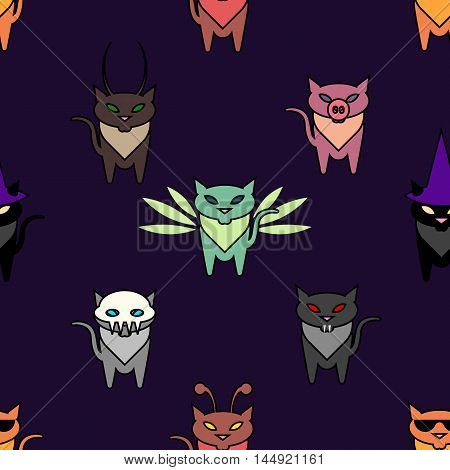 Cute Hallowen cats on the purple background. Simple and nice illustration