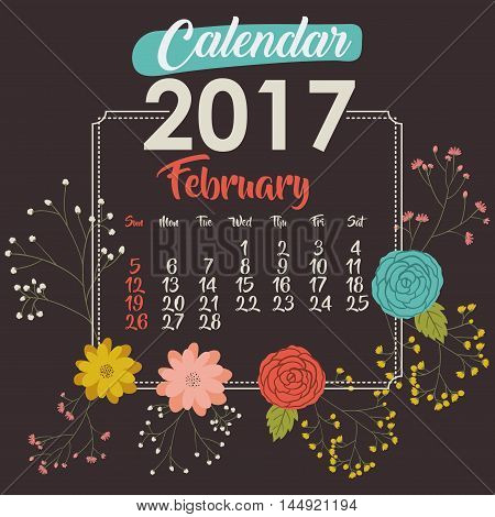 2017 february year calendar flowers floral garden planner month day icon. Colorful and Flat design. Vector illustration
