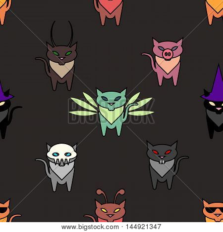 Cute Hallowen cats on the brown background. Simple and nice illustration