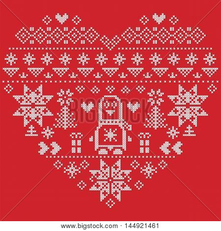 Heart Shape Scandinavian Printed Textile  style and inspired by  Norwegian Christmas and festive winter seamless pattern in cross stitch with Christmas tree, snowflakes, Penguins, hearts on red background