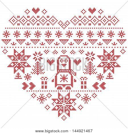 Heart Shape Scandinavian Printed Textile  style and inspired by  Norwegian Christmas and festive winter seamless pattern in cross stitch with Christmas tree, snowflakes, Penguins, hearts on white background