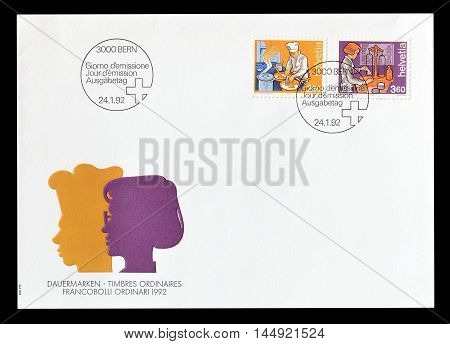 SWITZERLAND - CIRCA 1989 : Cancelled First Day Cover letter printed by Switzerland, that shows different professions.
