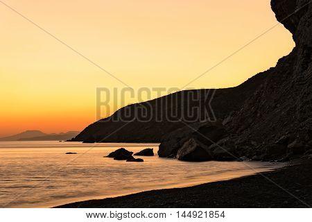 Beach at sunset in Kos island, Greece