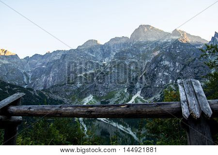 High Tatra peaks visible from Morskie Oko lake