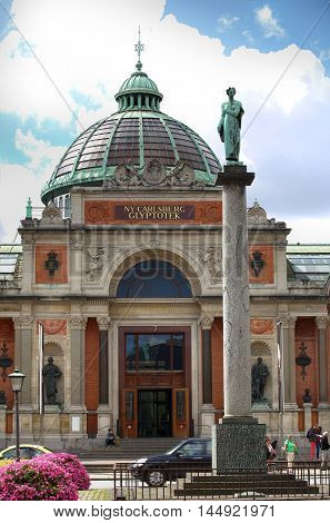 COPENHAGEN DENMARK - AUGUST 14 2016: Art museum in Copenhagen Ny Carlsberg Glyptotek building and column. The art museum was inaugurated in 1906. in Copenhagen Denmark on August 14 2016.