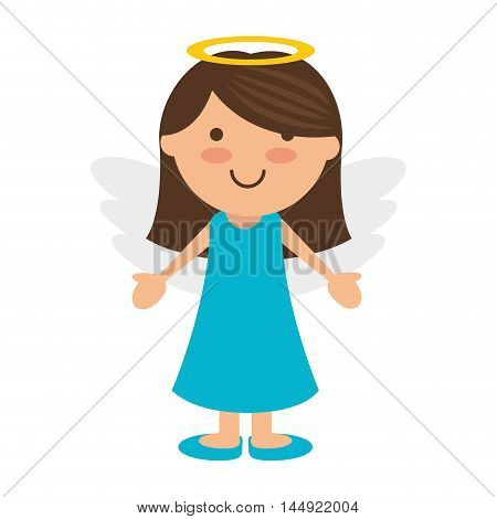 angel cartoon little girl wing halo heaven vector illustration