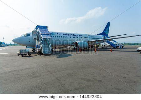 Bali Airport, Indonesia - August 28, 2008: Airplane Of Garuda Company Before Departure