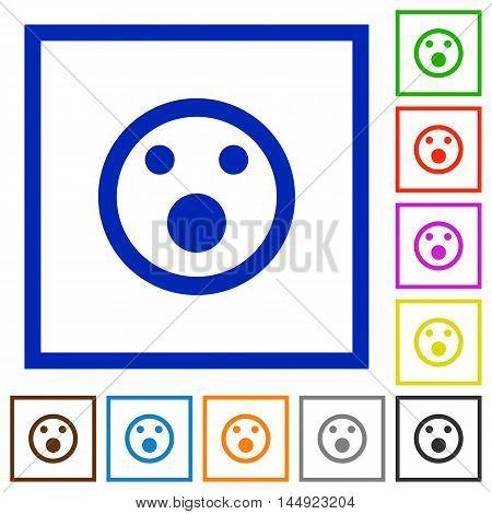 Set of color square framed Shocked emoticon flat icons