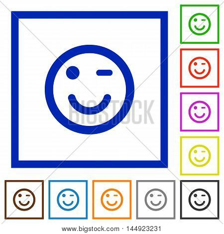 Set of color square framed Winking emoticon flat icons