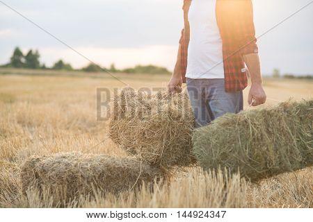 Farmer With Straw Bales